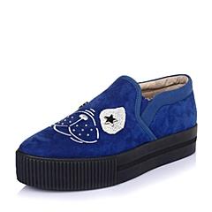 Hush Puppies/暇步士秋季专柜同款兰/深兰色羊绒皮革女皮鞋HJE20CM5