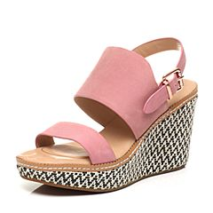 Hush Puppies/暇步士夏季专柜同款粉色牛皮淑女时尚坡跟女凉鞋05317BL5