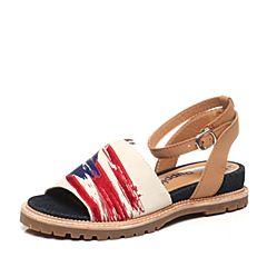 Hush Puppies/暇步士夏季专柜同款米色牛皮时尚舒适坡跟女凉鞋HDU27BL5