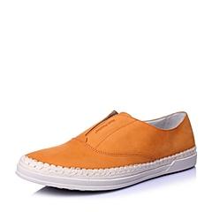Hush Puppies/暇步士春季专柜同款橙色牛皮套脚时尚百搭运动风男休闲鞋板鞋W1L01AM6