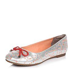 Hush Puppies/暇步士春季专柜同款银色羊皮简约时尚女休闲鞋HIN05AQ6