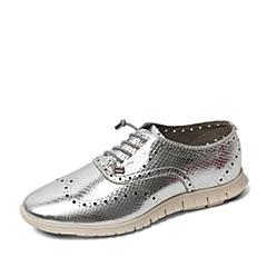 Hush Puppies/暇步士2016春季专柜同款银色牛皮时尚休闲女单鞋 专柜1 HJM20AM6
