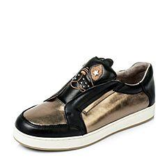 Hush Puppies/暇步士秋季专柜同款古铜色牛皮平底女休闲鞋HFB33CM6