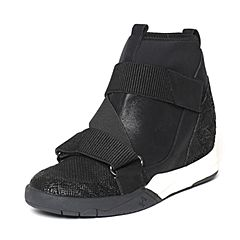 Hush Puppies/暇步士2016冬季专柜同款黑色山羊皮/猪皮女休闲靴HKK43DD6