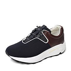Hush Puppies/暇步士秋季专柜同款深蓝色布/牛皮舒适运动风厚底男休闲鞋K2A01CM6