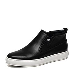Hush Puppies/暇步士冬季专柜同款黑色牛皮简约百搭时尚男休闲靴低靴B1F02DD6