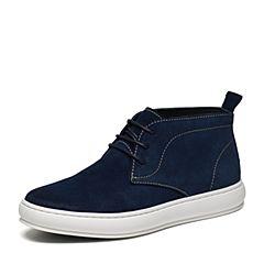 Hush Puppies/暇步士冬季专柜同款深蓝二层牛皮时尚舒适男低靴休闲靴B1F03DD6