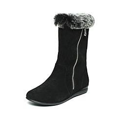 Hush Puppies/暇步士冬季专柜同款黑色羊皮/兔毛皮时尚舒适女休闲靴中靴HEL66DS6