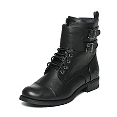 Hush Puppies/暇步士冬季专柜同款黑色牛皮方跟舒适女皮靴中靴HEV76DZ6