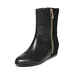 Hush Puppies/暇步士冬季专柜同款黑色牛皮/羊皮内增高简约时尚女皮靴中靴HGC62DS6