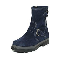 Hush Puppies/暇步士冬季专柜同款深兰色牛皮舒适厚底女休闲靴HJC48DZ6