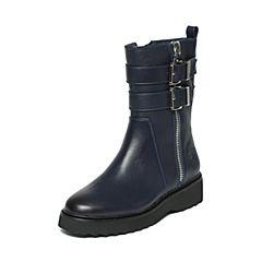 Hush Puppies/暇步士冬季专柜同款深兰色牛皮厚底舒适女皮靴中靴HKS60DZ6