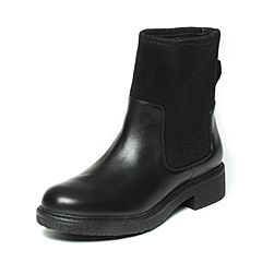 Hush Puppies/暇步士冬季专柜同款黑色牛皮/布中靴简约女休闲靴Z1J01DZ6