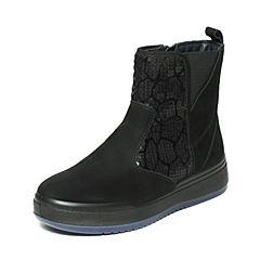Hush Puppies/暇步士冬季专柜同款黑色磨砂牛皮靴舒适厚底女休闲靴X1T02DZ6