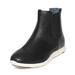 Hush Puppies/暇步士冬季专柜同款黑色羊皮/牛皮时尚简约女休闲靴HKT43DD6
