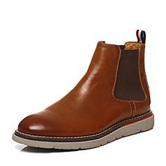 Hush Puppies/暇步士冬季专柜同款棕色牛皮简约舒适男休闲低靴短靴Z1H01DD6