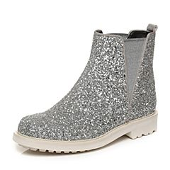 Hush Puppies/暇步士冬季专柜同款银色亮片布牛皮性感舒适女休闲靴HLQ44DD6