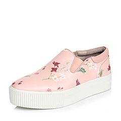 Hush Puppies/暇步士春季专柜同款粉色牛皮印花厚底女休闲鞋HJE21AM6