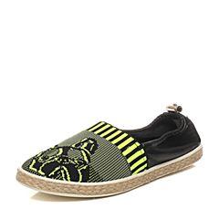 Hush Puppies/暇步士春季专柜同款黑灰色织物/羊皮针织套脚舒适后包跟女休闲鞋HJP26AM6