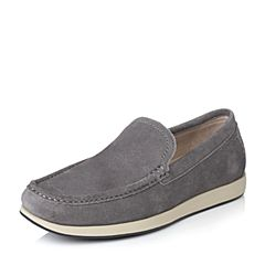 Hush Puppies/暇步士春季专柜同款灰色二层牛皮反绒套脚舒适男皮鞋乐福鞋K1V01AM6