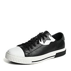 Hush Puppies/暇步士专柜同款黑色牛皮青春帅气套脚舒适男休闲鞋板鞋H5H20CM6