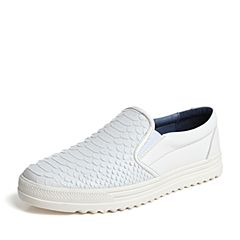Hush Puppies/暇步士春季专柜同款白色牛皮鳄鱼纹压花套脚舒适男休闲鞋板鞋小白鞋B1C01AM6