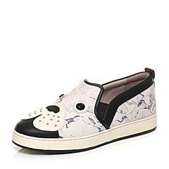 Hush Puppies/暇步士专柜同款白色牛皮/羊皮逗趣狗仔铆钉舒适平跟套脚女休闲鞋板鞋HFB17CM6