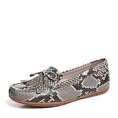 Hush Puppies/暇步士专柜同款灰银色牛皮平跟舒适套脚女休闲鞋HHX30CM6
