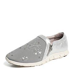 Hush Puppies/暇步士专柜同款灰/银色弹力布/羊皮时尚舒适平跟女休闲鞋HKT21CM6