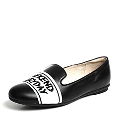 Hush Puppies/暇步士春季专柜同款黑色小牛皮时尚舒适平跟女休闲鞋HJZ02AM6