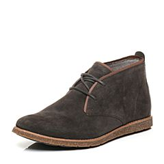 Hush Puppies/暇步士冬季专柜同款深灰色猪皮系带复古风男休闲靴低靴01330DD6