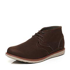 Hush Puppies/暇步士冬季专柜同款啡色牛皮磨砂系带复古风男休闲靴低靴01519DD6