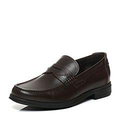 Hush Puppies/暇步士秋季专柜同款深啡色牛皮商务正装男皮鞋乐福鞋K2B03CM6