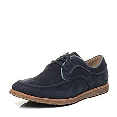 Hush Puppies/暇步士秋季专柜同款蓝色牛皮系带舒适男休闲鞋01511CM6