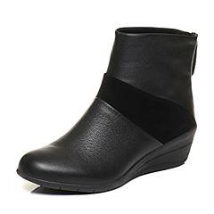 Hush Puppies/暇步士冬季专柜同款黑色光面牛皮/羊皮女休闲靴女鞋05876DD6