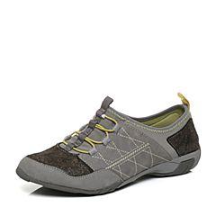Hush Puppies/暇步士秋季专柜同款浅灰色牛皮简约单鞋运动风女休闲鞋05505CM6