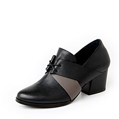 Hush Puppies/暇步士秋季专柜同款黑色牛皮系带OL通勤时尚粗高跟女皮鞋HFI31CM6