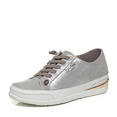 Hush Puppies/暇步士秋季专柜同款银灰/白羊皮/牛皮舒适时尚女休闲鞋HJN24CM6