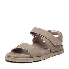 Hush Puppies/暇步士夏季专柜同款灰色牛皮纯色魔术贴男凉鞋沙滩鞋H4Q07BL7