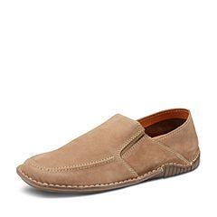 Hush Puppies/暇步士春季专柜同款杏色牛皮简约套脚舒适男休闲鞋乐福鞋K2H03AM7