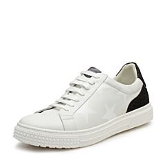 Hush Puppies/暇步士2017春季专柜同款白/黑色小牛皮系带舒适平跟男休闲鞋小白鞋板鞋H5H32AM7