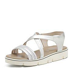 Hush Puppies/暇步士夏季专柜同款银色羊皮/布面交叉条带套脚纯色平跟时尚舒适女凉鞋HLC05BL7