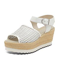 Hush Puppies/暇步士夏季专柜同款白/银色人造革/羊皮编织镂空时尚坡跟松糕跟女凉鞋HKY03BL7