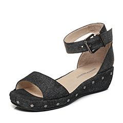 Hush Puppies/暇步士专柜同款夏季黑色时尚铆钉搭扣坡跟女凉鞋HLA05BL7