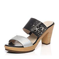 Hush Puppies/暇步士专柜同款夏季银/黑色裂面铆钉海星清新粗高跟女拖鞋HDM26BT7