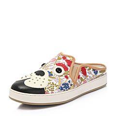 Hush Puppies/暇步士专柜同款春季红绿色印花布/牛皮狗仔印花平跟女拖鞋穆勒鞋HFB01BT7