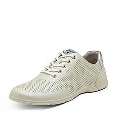Hush Puppies/暇步士专柜同款春季白色牛皮系带平跟女休闲鞋L1A02AM7