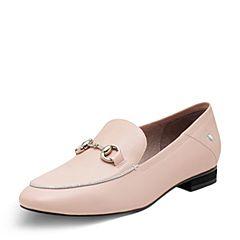 Hush Puppies/暇步士2017专柜同款春季粉色牛皮套脚方跟女单鞋HBM14AM7