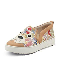 Hush Puppies/暇步士2017专柜同款春季红绿印花布狗仔平跟套脚时尚休闲风女板鞋HJR26AM7