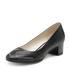 Hush Puppies/暇步士2017春季专柜同款黑色小牛皮镂空中粗跟女皮鞋单鞋HKE07AQ7
